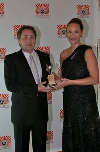 Luigi Esposito with Chelsey Baker - Best Music Award - London International Film Festival 2013.jpg
